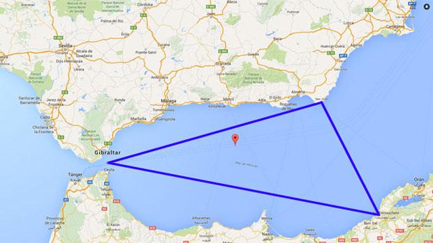 Zona aproximada donde tuvieron lugar las despariciones y avistamientos en el mar de Alborán