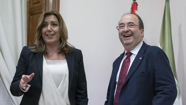 Susana Díaz y Miquel Iceta en una reunión que ambos mantuvieron en la sede del PSOE andaluz hace justo un año
