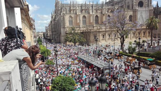 Miles de personas se manfiestan por la avenida de la Constitución, este domingo