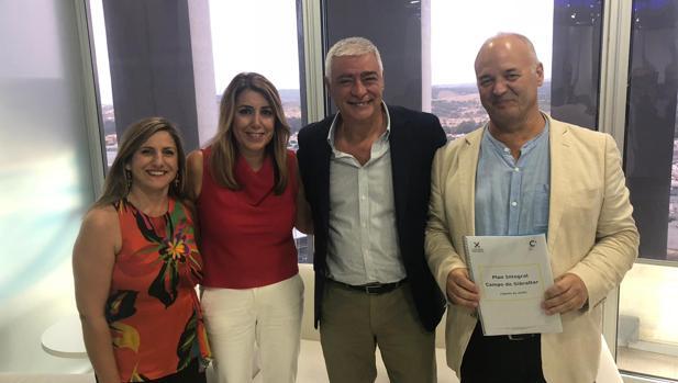 Susana Díaz, Irene García, Francisco Mena y José Luis Díaz, en el encuentro de este lunes.