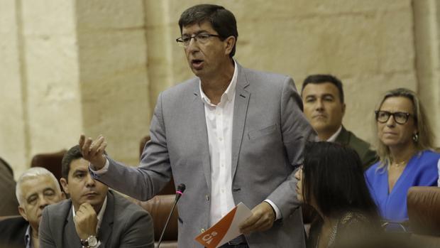 El líder andaluz de Ciudadanos, Juan Marín, durante una comparecencia en el Parlamento