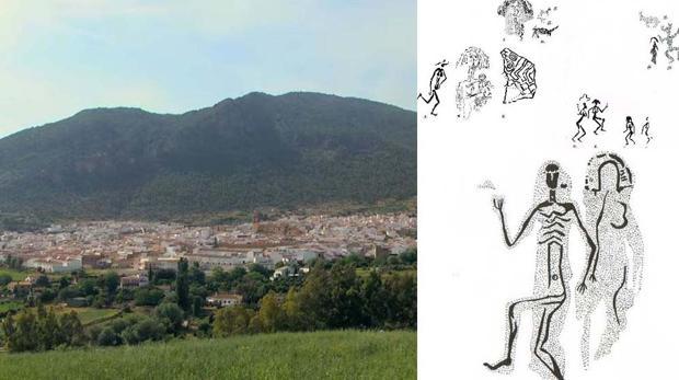 Panorámica de Algodonales junto a un calco de las pinturas rupestres