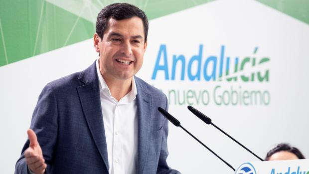 Juanma Moreno, este sábado en la sede del PP en Sevilla