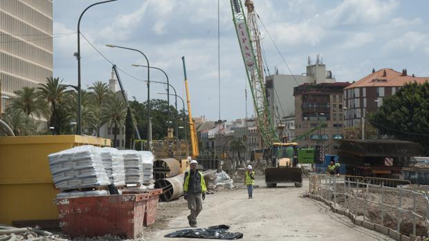 Obras del metro en la avenida de Andalucía en Málaga