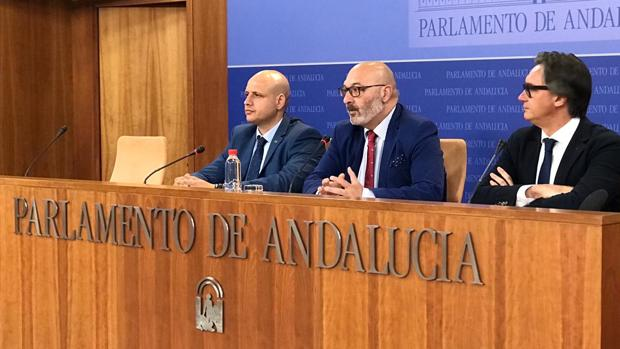 Vox comparece ante los medios tras presentar la enmienda a la totalidad en el Parlamento al presupuesto