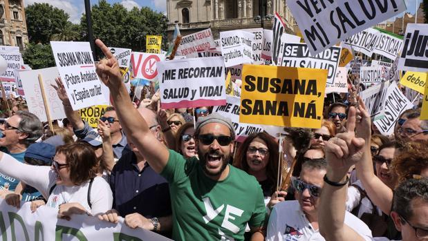 Spiriman, al frente de la manifestación del pasado 10 de junio en Sevilla