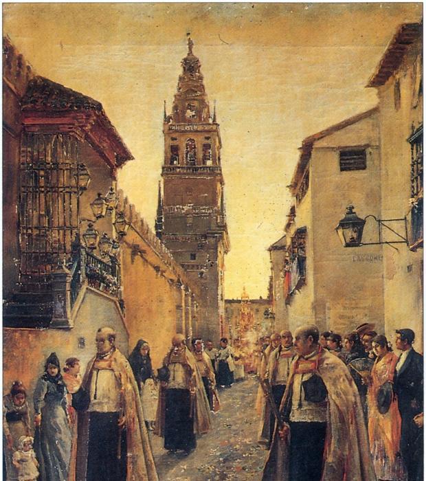 Lienzo del pintor Ramos y Baños que reperesenta la procesión del Corpus