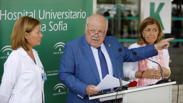 El consejero de Salud, Jesús Aguirre, durante una reciente comparecencia en el Reina Sofía