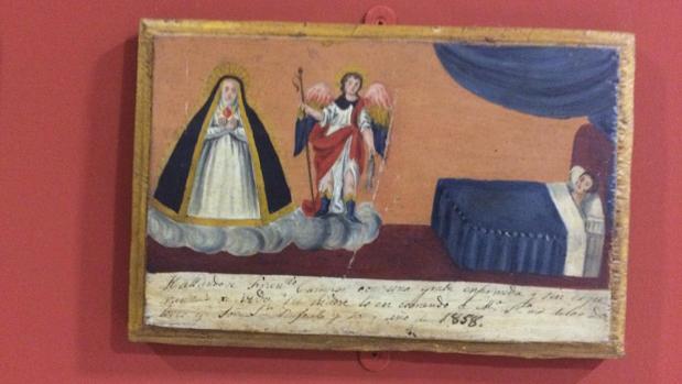 Tablilla de un exvoto pidiendo a la Virgen de los Dolores y San Rafael