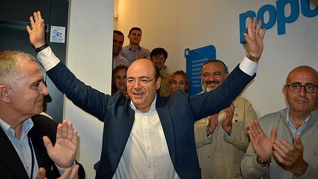Sebastián Pérez, en 2017, tras proclamarse nuevamente presidente del PP de Granada.