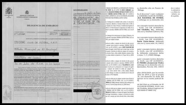 Imagen del documento del embargo