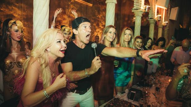 Antonio Banderas durante la fiesta de cumpleaños