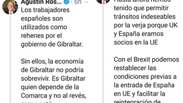 Capturas del hilo sobre Gibraltar abierto por Rosety en su cuenta de Twitter