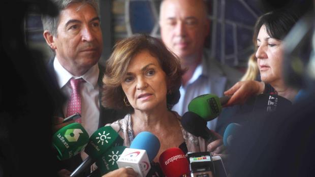 Carmen Calvo, en rueda de prensa