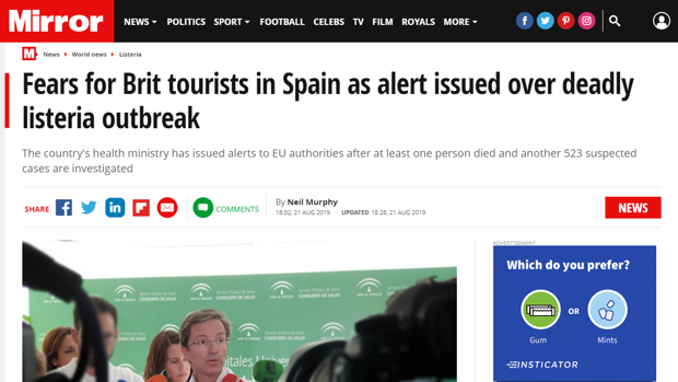 Titular de la noticia en la edición digital del Daily Mirror