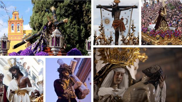 De izquierda a derecha y de arriba a abajo: Jesús Caído, Cristo del Remedio de Ánimas, Jesús Nazareno de Priego, Humildad y Paciencia, Nazareno de La Rambla y Angustias de Córdoba
