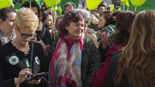 Rutrh Ortiz en una concentración en Huelva