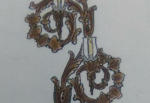 Dibujo de uno de los nuevos candelabros para el paso