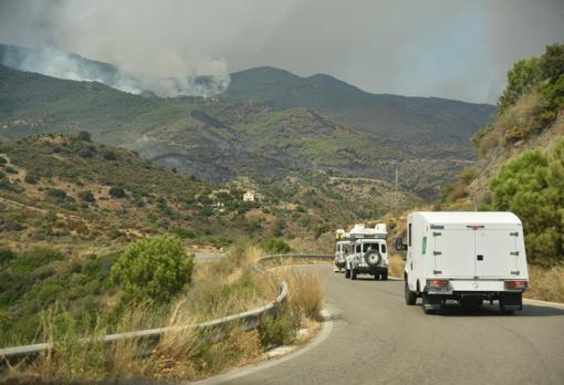 La brigada de Granada subiendo a sofocar el incendio