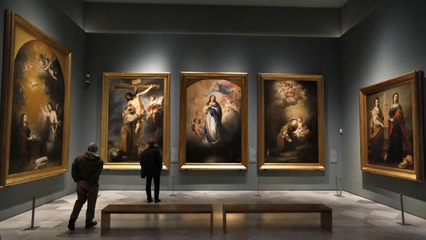 Detalle del montaje de la muestra en el Museo de Bellas Artes de Sevilla