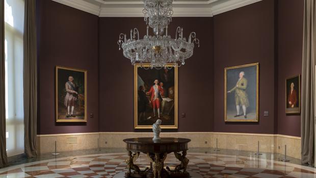Sala dedicada a Goya. En la imagen, cuatro de los ocho retratos realizados por el artista que atesora el Banco de España