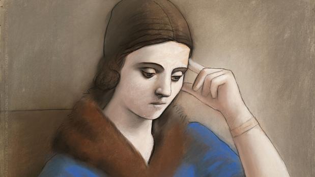 Picasso. «Olga pensativa» (1923). Detalle. Museo Picasso, París