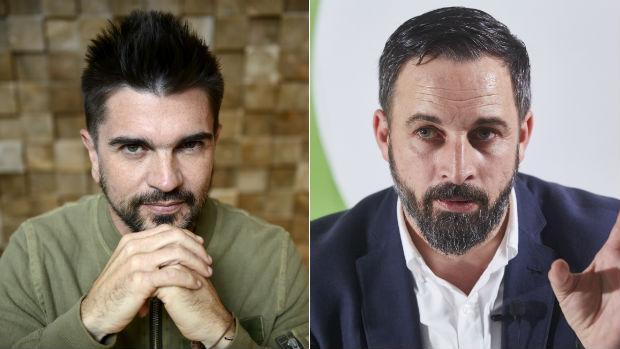 El cantante Juanes y el líder de Vox, Santiago Abascal
