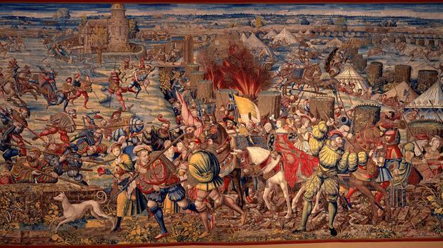 Carlos I en la batalla de Pavía, tapiz de Bernard van Orley