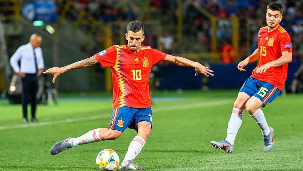 Ceballos, en el partido entre Italia y España del Europeo sub 21