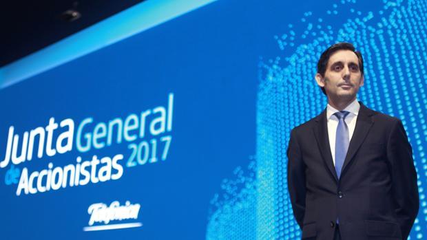 José María Álvarez-Pallete, presidente de Telefónica, en la junta de accionistas