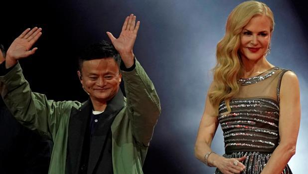 Jack Ma, presidente del grupo Alibaba, y la actriz Nicole Kidman, al comienzo del Día del Soltero