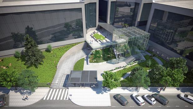 Recreación del edificio Kristal en el complejo Ikubico Park, propiedad del Sabadell