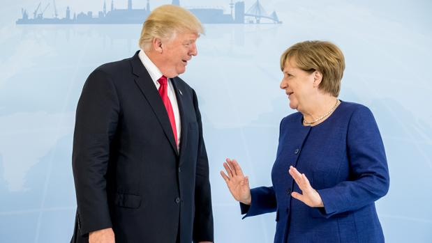 El presidente de EE.UU., Donald Trump, y la canciller alemana, Angela Merkel
