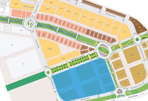 Plano del polígono industrial El Esparragal, en la localidad sevillana de Guillena, y en azul la parcela de unos 130.000 metros cuadrados que ocupará la plataforma logística del Grupo MAS