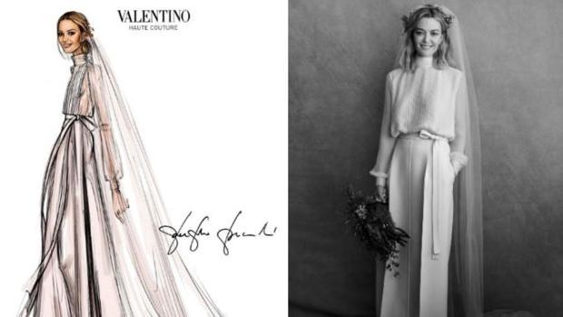 Boceto del vestido de novia (izquierda) y Marta Ortega luciéndolo (derecha)
