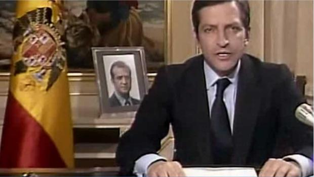 Adolfo Suárez, durante su discurso de dimisión, el 29 de enero de 1981
