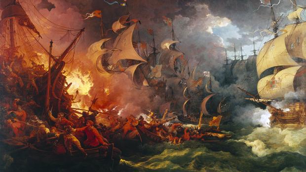 Derrota de la armada invencible, pintura de Philippe-Jacques de Loutherbourg (1796) basada en el mito de que se produjo un choque naval desfavorable a España,
