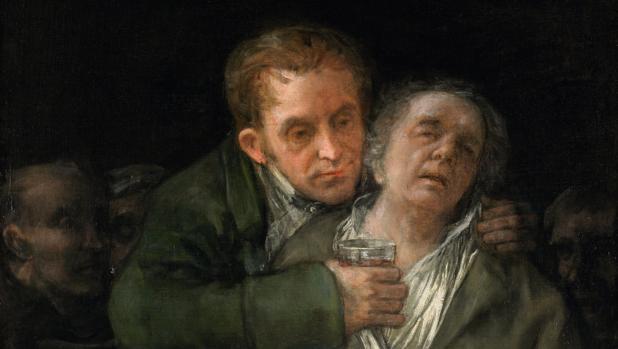 Francisco Goya y su médico, cuadro que refleja la temática característica del siglo XIX de admiración de la burguesía por la ciencia.