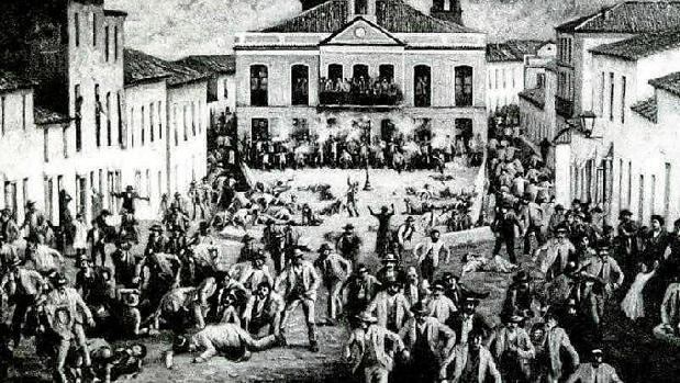 Grabado de las protestas de Riotinto, el 4 de febrero de1888