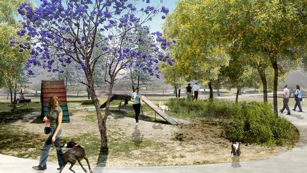 Recreación de la isla dedicada a los perros en el futuro parque Central de Mairena del Aljarafe