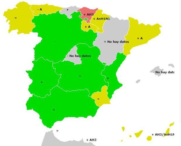 Mapa difusión gripe