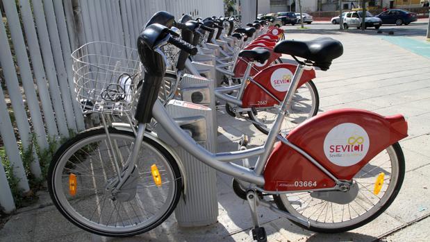 Bicicletas de Sevici estacionadas en el parque de Miraflores, en la Macarena