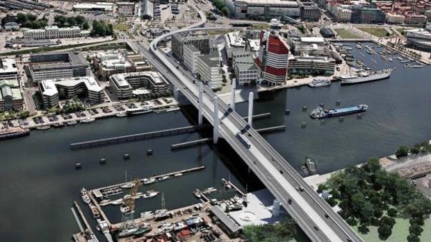 Recreación del futuro puente Hisingsbron de Gotemburgo