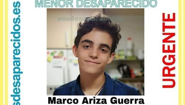 La alerta de SOS Desaparecidos con la fotografía de Marco que está circulando por redes sociales