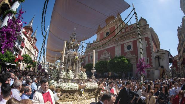 La Custodia de Arfe, en la procesión del Corpus Christi de Sevilla de 2018