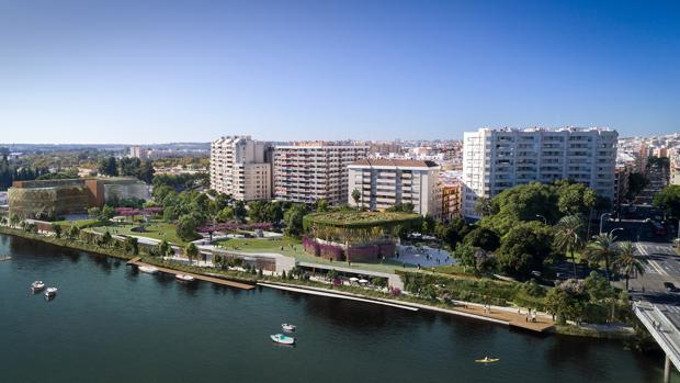 El proyecto del Jardín de las Cigarreras es una gran terraza al río, con equipamientos públicos y un parking