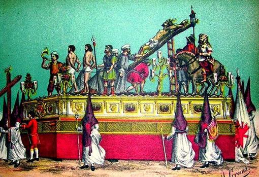 Paso de misterio de la Exaltación en el siglo XIX, uno de los que procesionó en 1826